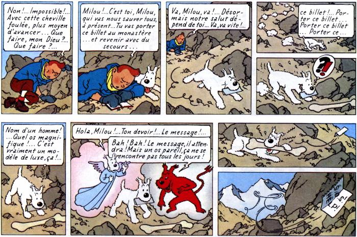 Ange et Démon de Milou, extrait d'un album de Tintin par Hergé
