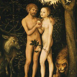 Peinture de Cranach représentant Adam et Eve croquant une pomme
