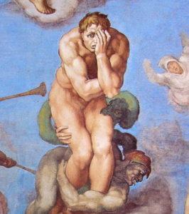 peinture de Michel Ange dans la Chapelle Sixtine (Vatican) : un damné effrayé.