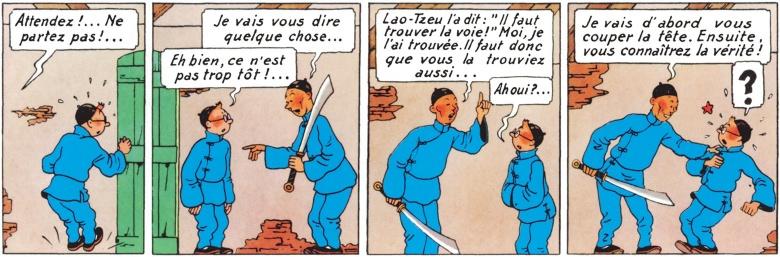 """Extrait du """"Lotus bleu"""", album de Tintin par Hergé."""
