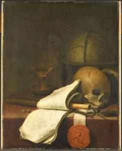 """illustration : """"une vanité"""" peinture aidant à méditer - Pieter Symonsz Potter, Vanitas stilleven, 1646, Rijksmuseum"""