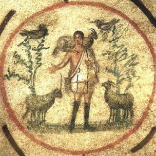 Jésus en berger - catacombes de Rome
