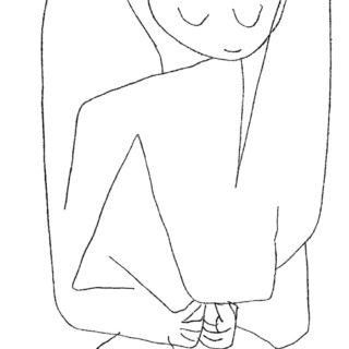 Dessin au trait de Paul Klee (un ange que je trouve pensif)