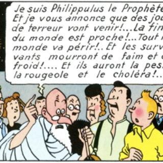 """Extrait de """"Lîle mystérieuse"""" de Tintin par Hergé : Philippulus le prophète menaçant"""