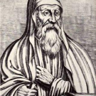 """gravure représentant Origène (d'après le livre du XVIe siècle """"Les vrais pourtraits et vies des hommes illustres grecz, latins et payens"""")"""