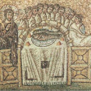 Mosaïque représentant la Cène (Sant'Apollinare in Classe, Ravenne, Italie)