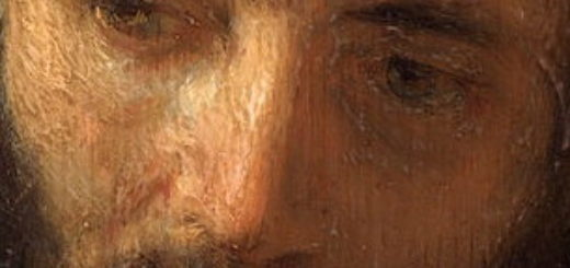détail d'un tableau de Rembrandt représentant lle visage de Jésus - Head of Christ (Rembrandt, Philadelphia - wikicommons)