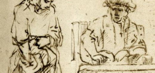 Extrait d'un dessin de Rembrandt 'la parabole des talents' (1652, Musée du Louvre)