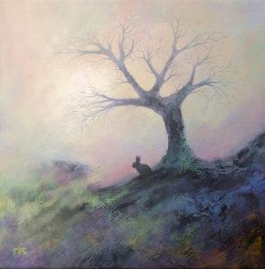 tableau montrant un arbre et un lapin (illustration du rêve) -  Image: 'Misty Morning'  http://www.flickr.com/photos/60580775@N08/23667116213 Found on flickrcc.net