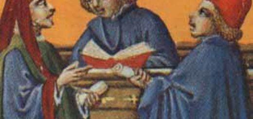 Peinture du XIIIe siècle à Milan représentant des théologiens en pleine disputatio
