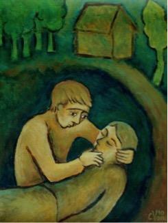 "Peinture de Corinne Vonaesch ""Le Bon Samaritain"" (Luc 10, 27-35)"