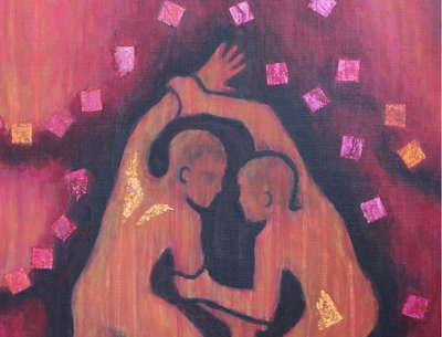 Détail de la peinture de Corinne Vonaesch « Lutte de Jacob »