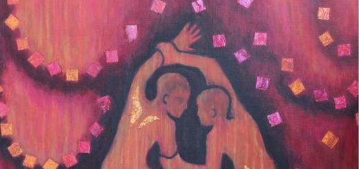 """Peinture de Corinne Vonaesch """"La Lutte de Jacob (Genèse 32)"""""""