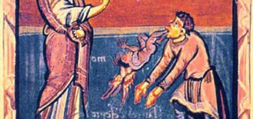 Illustration du XVIIe - wikicommons : Jesus heilt den Besessenen von Gerasa. Mittelalterliche Buchillustration. Hidta-Codex, Hs. 1640, fol 76r.