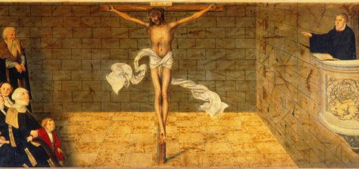 "Luther prêchant, se référant au ""Christ seul"" - Stadtkirche Wittenberg"