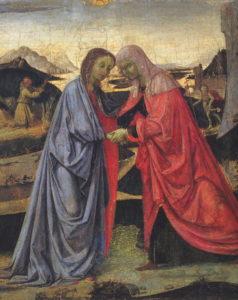 Extrait de la peinture de Perugino représentant la visite de Marie auprès d'Elisabeth (wikicommons)