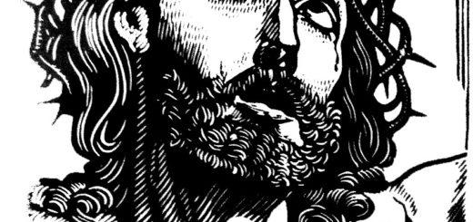 gravure représentant le Christ souffrant, regard levé vers le ciel.