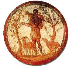image chrétienne des premiers siècles : Christ en berger portant une brebis et en conduisant d'autres