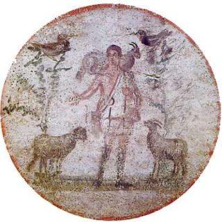 image chrétienne des premiers siècles : Christ en berger portant un bouc et séparant les brebis des boucs. Arbres avec colombes