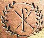 image chrétienne des premiers siècles : Chrisme et couronne de palme