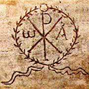 image chrétienne des premiers siècles : Chrisme, couronne de palme et courants d'eau