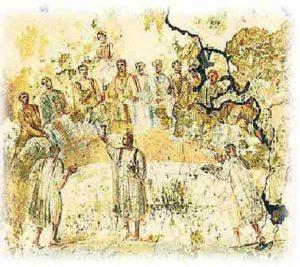 image chrétienne des premiers siècles : scène de la vie du christ : fraction du pain