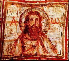 image chrétienne des premiers siècles : Christ en philosophe, entouré d'alpha et oméga