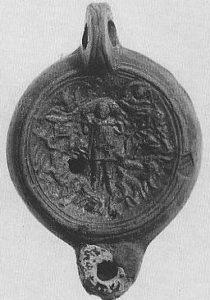 image chrétienne des premiers siècles : Christ en berger (sur une lampe)