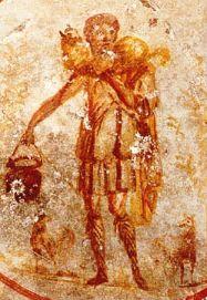image chrétienne des premiers siècles : Christ en berger portant de l'eau