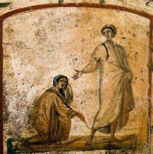 image chrétienne des premiers siècles : scène de la vie de Jésus, guérison de l'hémoroïsse
