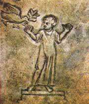 image chrétienne des premiers siècles : Orant accueillant l'Esprit portant un rameau