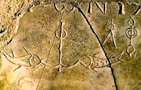 image chrétienne des premiers siècles : ancre et poissons