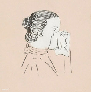 Illustration : femme qui se mouche - Image: 'Head of a woman with a handkerchief against her nose (1894) by Julie de Graag (1877-1924). Original from the+Rijks+Museum.+Digitally+enhanced+by+rawpixel'  http://www.flickr.com/photos/153584064@N07/44778439891 Found on flickrcc.net