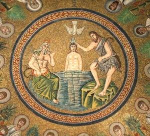 baptême de Jésus par Jean-Baptiste, entouré par les apôtres (Ravenne, débit VIe siècle)