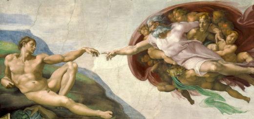 Michelangelo - création de l'humain, chapelle Sixtine (wikicommons)