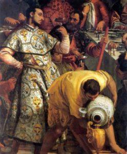 extrait de l'immense tableau Les Noces de Cana » de Véronèse (Musée du Louvre)