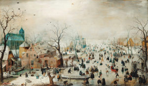 foule dans un paysage d'hiver et église dominante -  Image: 'Winter Landscape with Ice Skaters (1608) oil paint on panel by Hendrick Avercamp (1585-1634)'  http://www.flickr.com/photos/153584064@N07/45642521864 Found on flickrcc.net