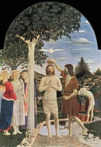 Illustration : baptême du Christ selon Piero della Francesca (1400). National Gallery, London, UK