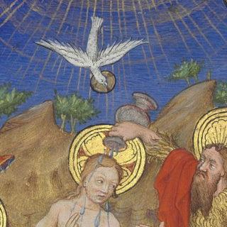 colombe de l'Esprit - détail de Maître de Marguerite d'Orléans. Baptême du Christ. Vers 1430. BNF, Paris