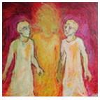 Les pèlerins d'Emmaüs (Luc 24. 13-35) - peinture de © Corinne Vonaesch