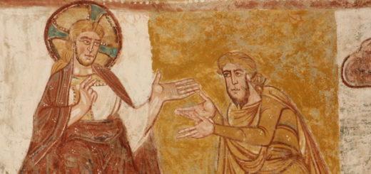Fresque de l'abbaye de Saint-Savin-sur-Gartempe (XI-XIIe siècle) représentant Dieu parlant à Abraham - Wikicommons - Antoine Garnier