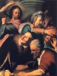 Rembrandt : Jésus chassant les marchands du temple (musée des Beaux-Arts Pouchkine - Wikicommons)