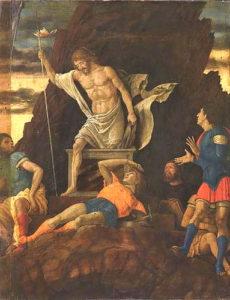 Christ ressuscitant - Andrea Mantegna, Résurrection du Christ, 1492-1493, tempera sur toile, Bergame