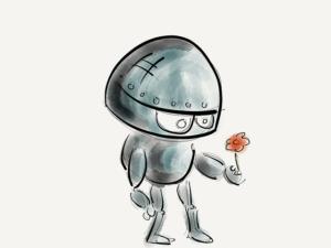 Illustration : un mignon petit robot offre une fleur ou reçoit une fleur avec inquiétude ? Image parbamenny de Pixabay