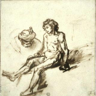 étude de Rembrandt illustrant le bon samaritain se penchant sur l'homme blessé, Rotterdam, Museum Bojmans-van Beuningen)