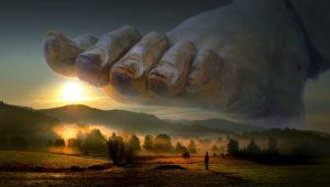 Illustration : un immense pied menaçant d'écraser une petite personne dans un beau paysage - Image parStefan Keller de Pixabay