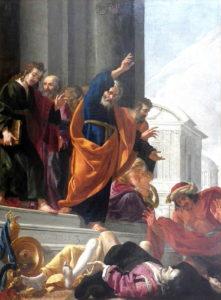 Peinture de Aubin Vouet - La mort de Saphire et d'Ananie
