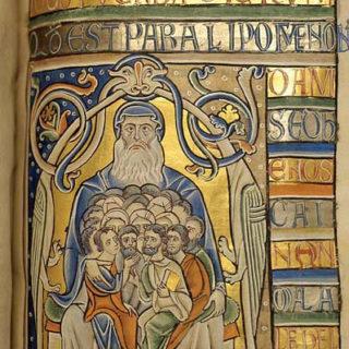 Enluminure du XIIe siècle représentant tous les peuples dans son sein - Abraham, le père des croyants Enluminure de la Bible de Souvigny