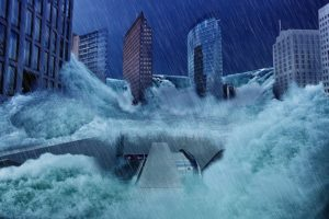 Illustration : immage d'artiste une ville engloutie par les eaux - Image par733215 de Pixabay