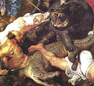 Peinture baroque : Hippopotame et chasse au crocodile - Peter Paul Rubens